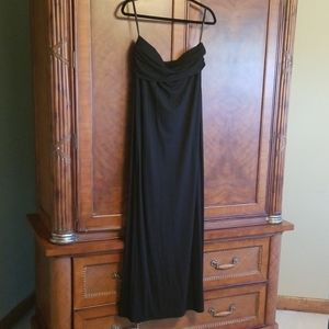 Ann Taylor strapless black maxi dress.